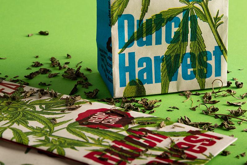 Dutch Harvest hemp tea verpakking. Verpakkingsmateriaal van milieuvriendelijk, bio karton van PaperWise