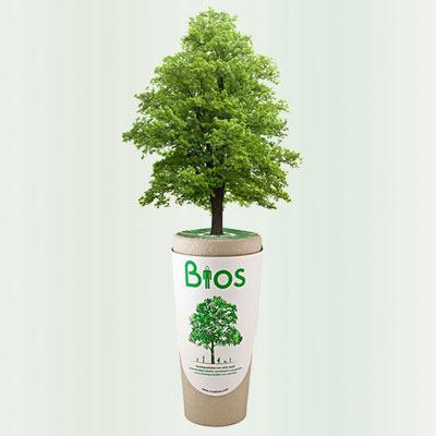 Biologische urn Bios Urn met boom overlijden dood crematie De Duurzame Kaart