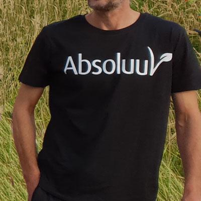 Duurzaam t-shirt man wit Absoluut vegan veganist vegetarier De Duurzame Kaart