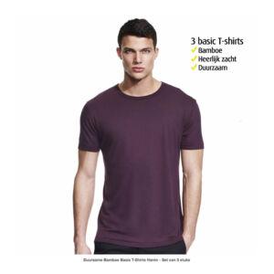 Duurzame bamboe T-Shirts Heren Basis - Set van 3 stuks