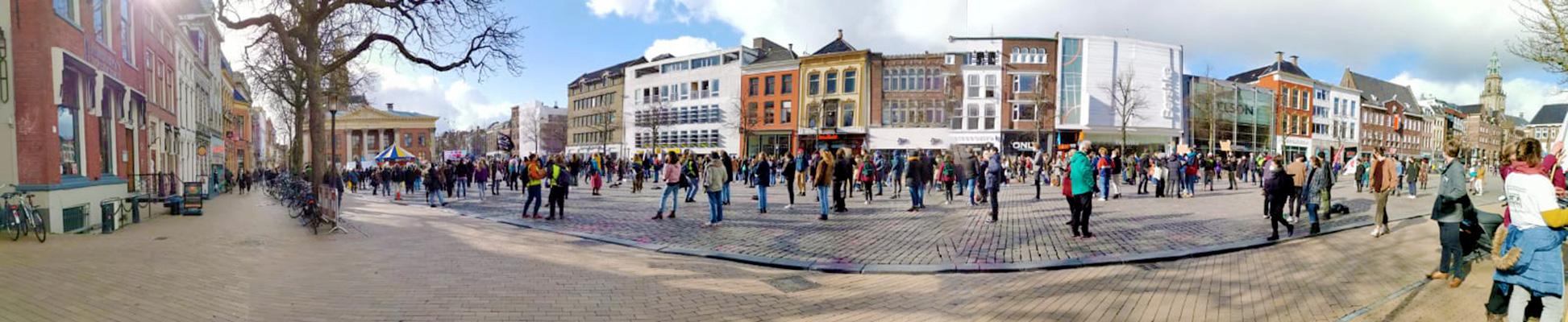 Klimaatalarm Vismarkt Groningen demonstratie corona